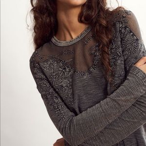 NWT Free People Micha Tee Black